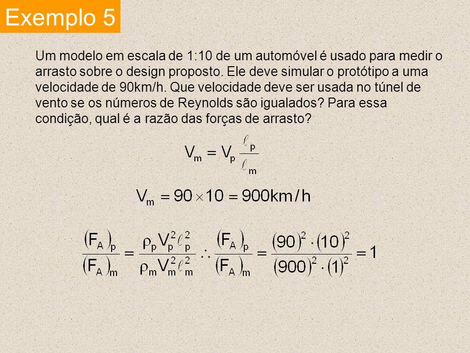 Exemplo 5 Um modelo em escala de 1:10 de um automóvel é usado para medir o arrasto sobre o design proposto. Ele deve simular o protótipo a uma velocid