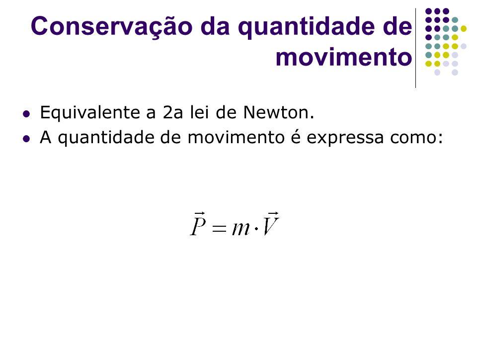 Conservação da quantidade de movimento Equivalente a 2a lei de Newton. A quantidade de movimento é expressa como: