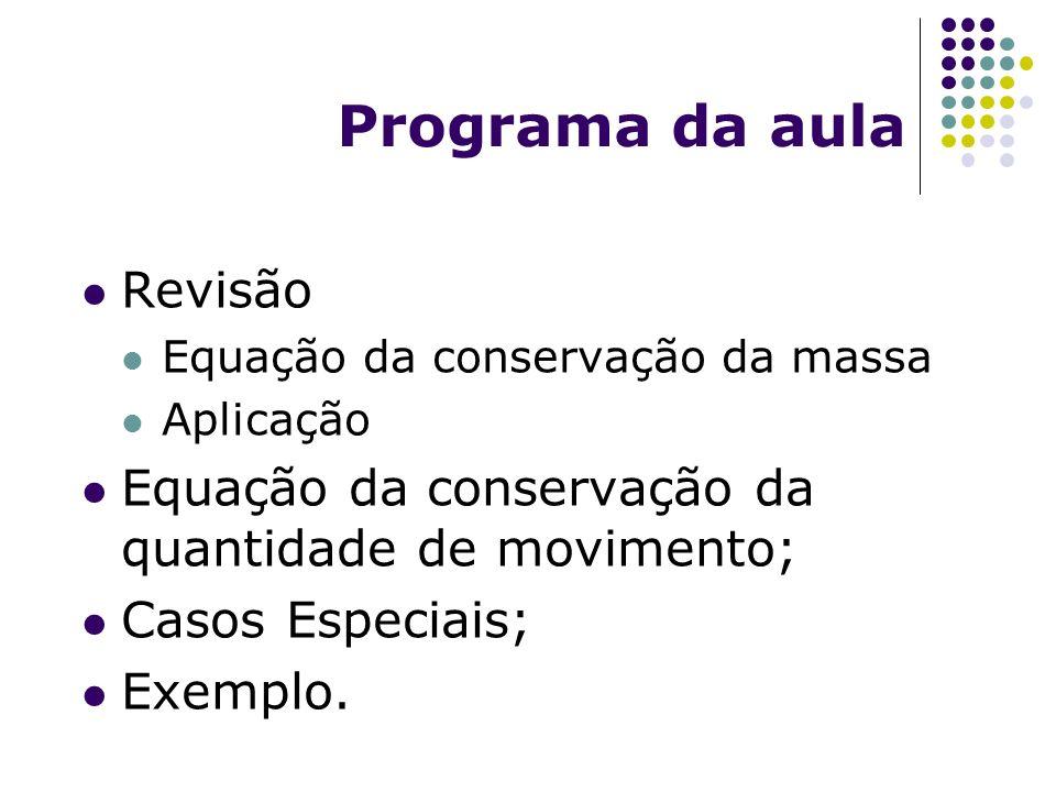 Programa da aula Revisão Equação da conservação da massa Aplicação Equação da conservação da quantidade de movimento; Casos Especiais; Exemplo.