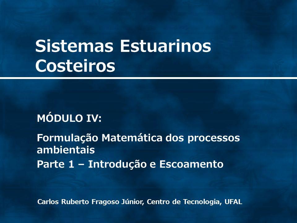 Sistemas Estuarinos Costeiros Carlos Ruberto Fragoso Júnior, Centro de Tecnologia, UFAL MÓDULO IV: Formulação Matemática dos processos ambientais Parte 1 – Introdução e Escoamento