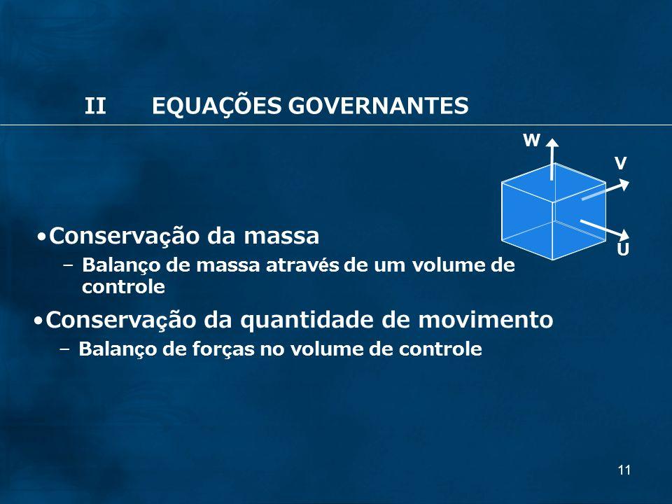11 Conservação da quantidade de movimento –Balanço de forças no volume de controle U V W Conservação da massa – Balanço de massa através de um volume de controle IIEQUAÇÕES GOVERNANTES