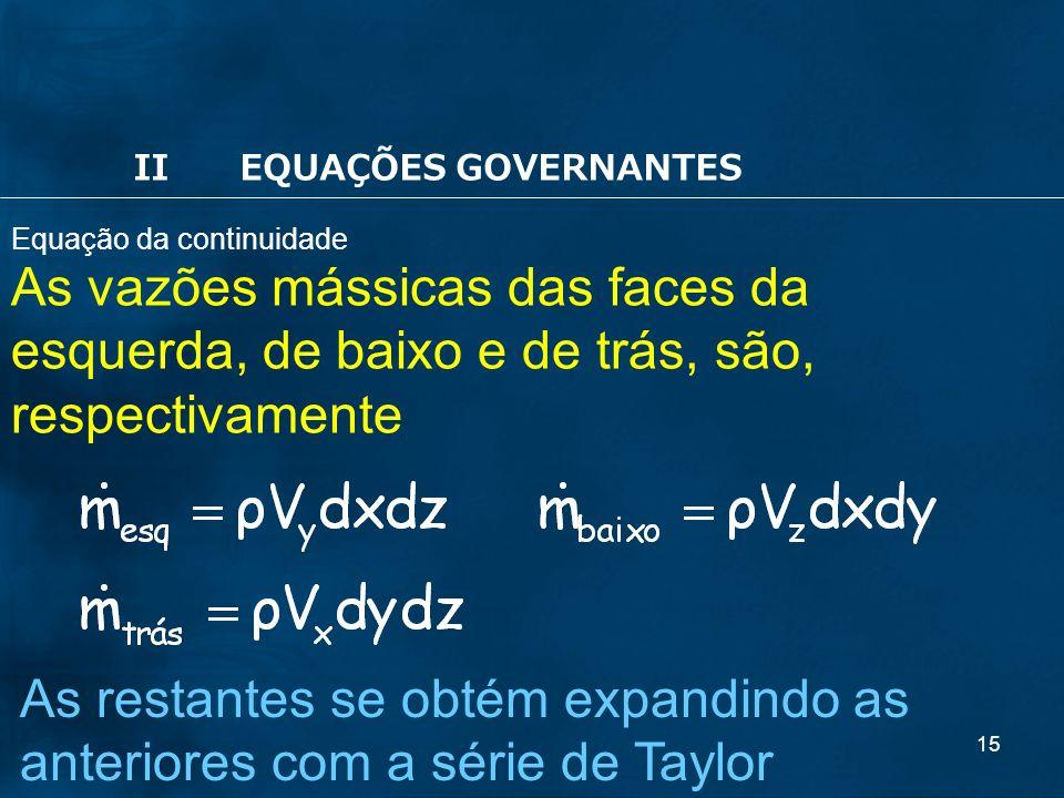 15 As vazões mássicas das faces da esquerda, de baixo e de trás, são, respectivamente As restantes se obtém expandindo as anteriores com a série de Taylor Equação da continuidade IIEQUAÇÕES GOVERNANTES