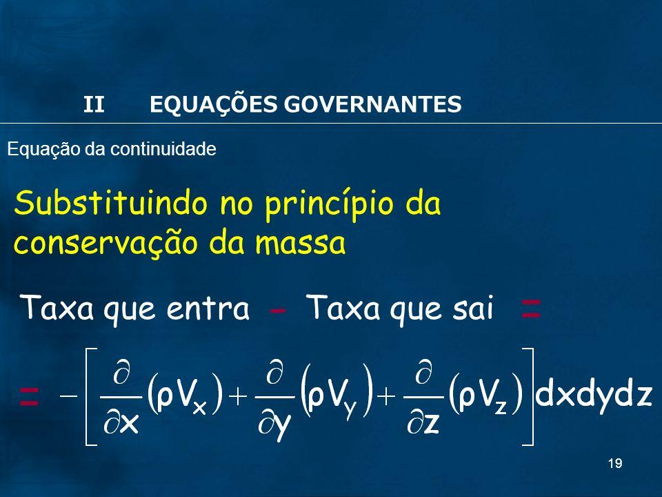 19 Substituindo no princípio da conservação da massa Taxa que entraTaxa que sai -= = IIEQUAÇÕES GOVERNANTES Equação da continuidade