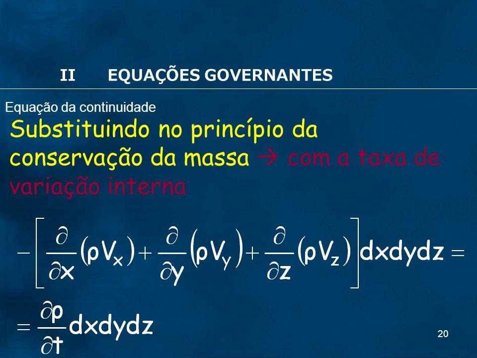 20 Substituindo no princípio da conservação da massa com a taxa de variação interna IIEQUAÇÕES GOVERNANTES Equação da continuidade