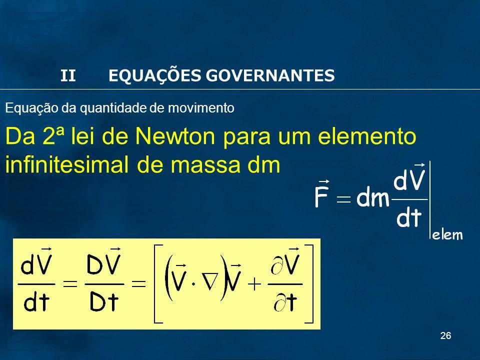 26 Da 2ª lei de Newton para um elemento infinitesimal de massa dm IIEQUAÇÕES GOVERNANTES Equação da quantidade de movimento