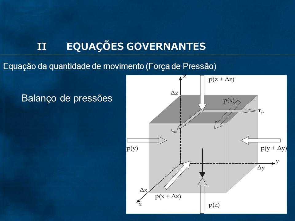 36 Balanço de pressões IIEQUAÇÕES GOVERNANTES Equação da quantidade de movimento (Força de Pressão)