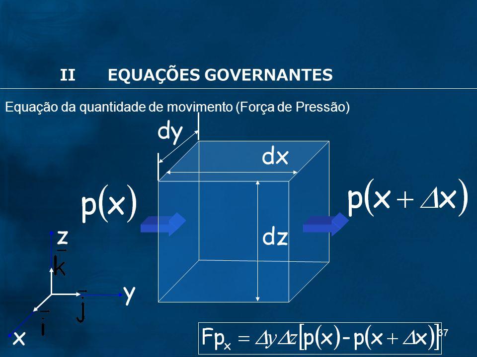 37 dy dx x y z dz IIEQUAÇÕES GOVERNANTES Equação da quantidade de movimento (Força de Pressão)