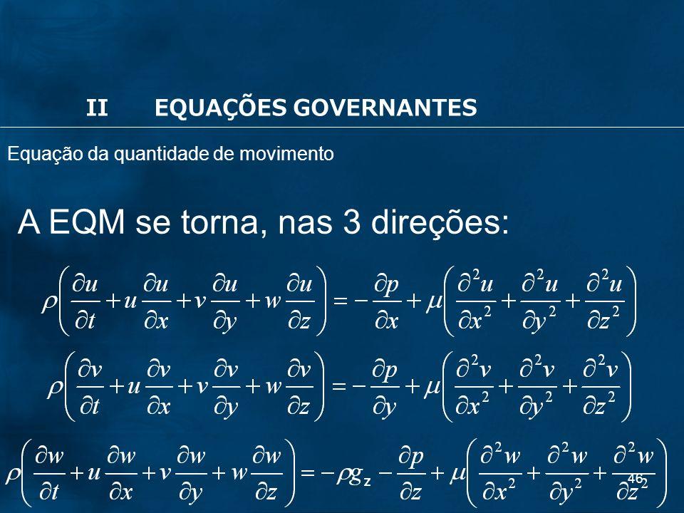 46 A EQM se torna, nas 3 direções: IIEQUAÇÕES GOVERNANTES Equação da quantidade de movimento