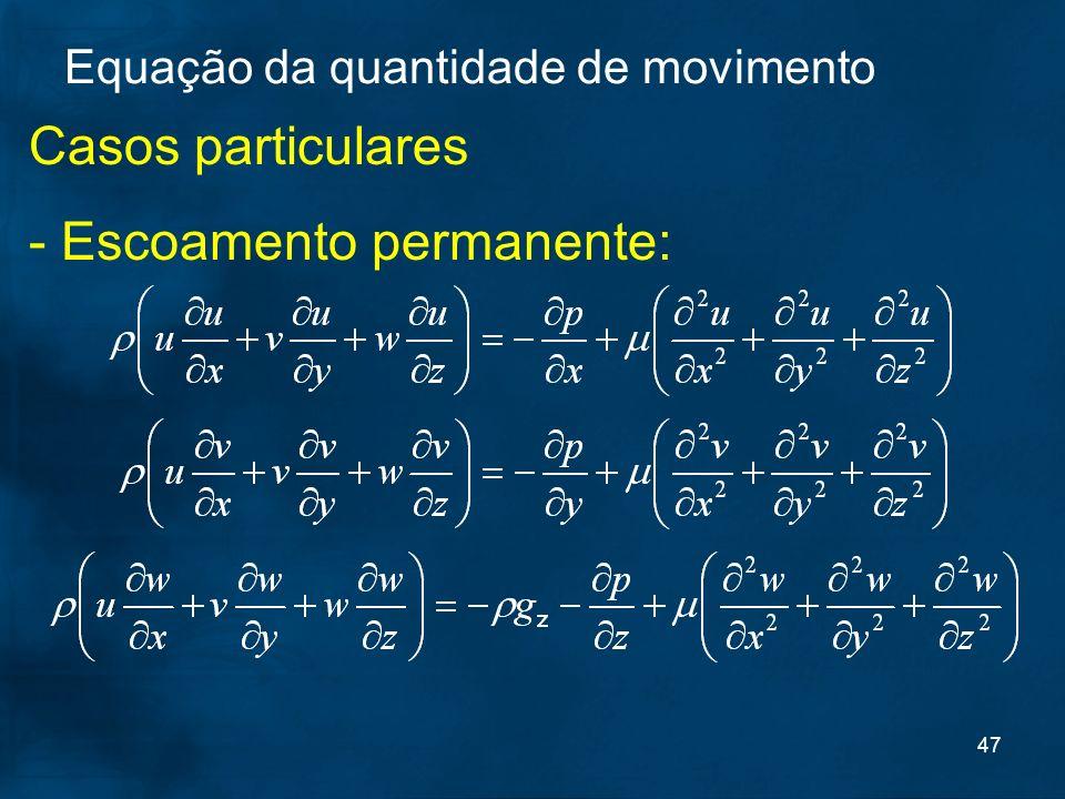 47 Casos particulares - Escoamento permanente: Equação da quantidade de movimento