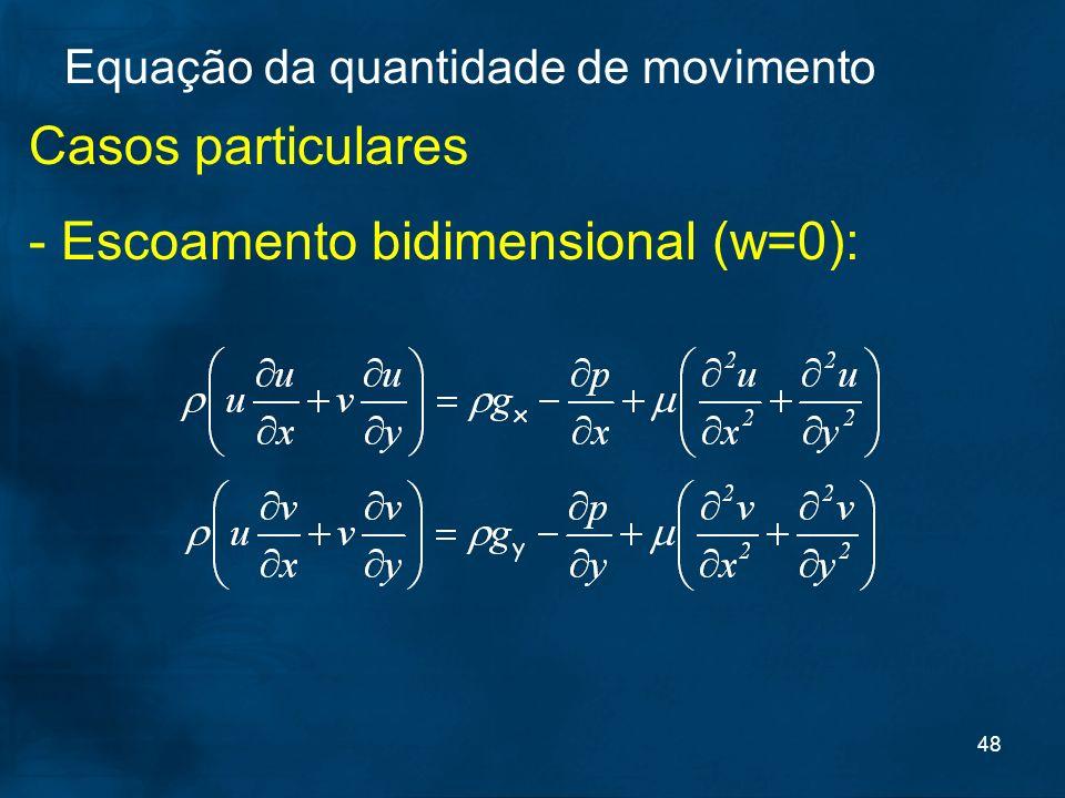 48 Casos particulares - Escoamento bidimensional (w=0): Equação da quantidade de movimento