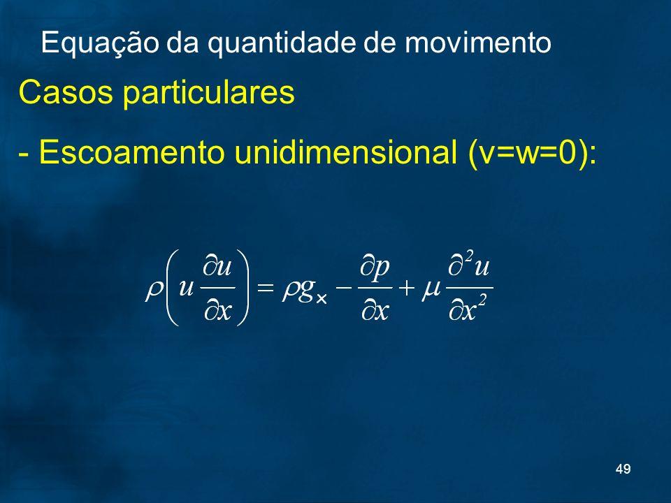 49 Casos particulares - Escoamento unidimensional (v=w=0): Equação da quantidade de movimento