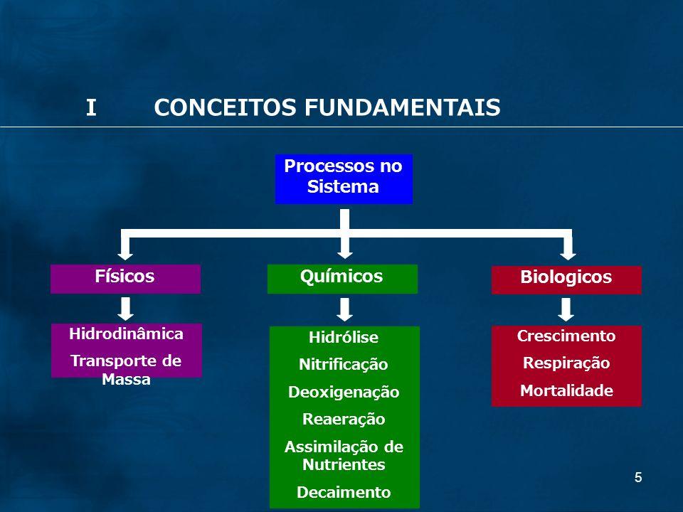 5 Processos no Sistema Hidrólise Nitrificação Deoxigenação Reaeração Assimilação de Nutrientes Decaimento Crescimento Respiração Mortalidade Hidrodinâmica Transporte de Massa Químicos Físicos Biologicos ICONCEITOS FUNDAMENTAIS
