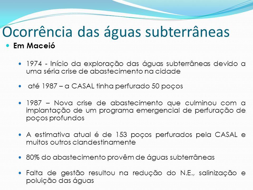 Em Maceió 1974 - Início da exploração das águas subterrâneas devido a uma séria crise de abastecimento na cidade até 1987 – a CASAL tinha perfurado 50