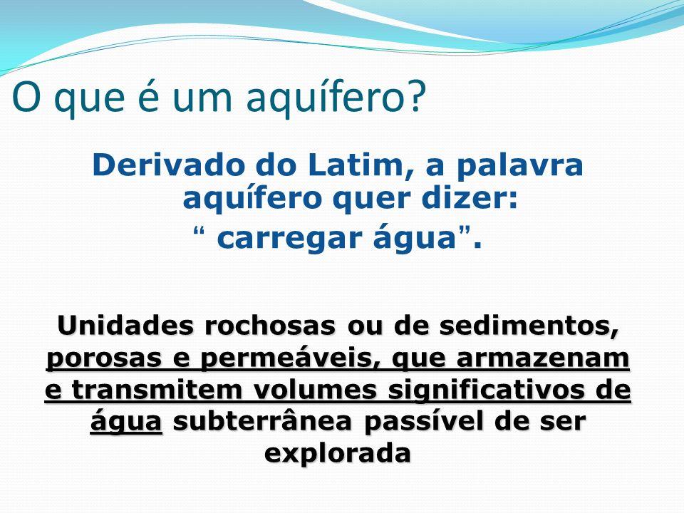 O que é um aquífero? Derivado do Latim, a palavra aqu í fero quer dizer: carregar água. Unidades rochosas ou de sedimentos, porosas e permeáveis, que