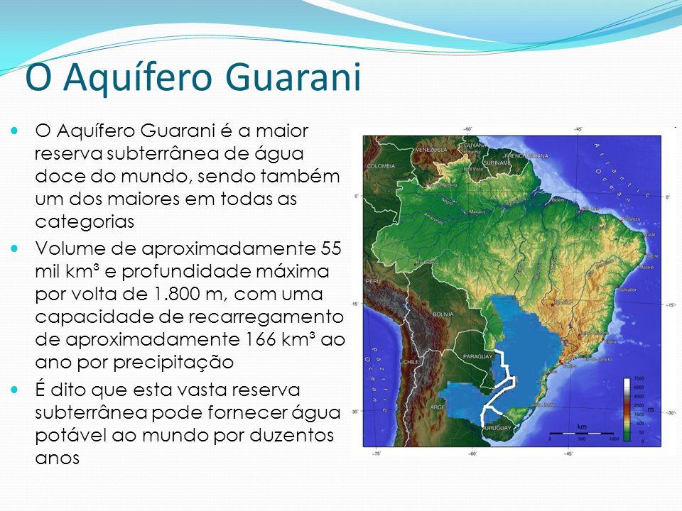 O Aquífero Guarani No Brasil, o aquífero guarani integra o território de oito estados: Mato Grosso do Sul213 200 km² Rio Grande do Sul157 600 km² São Paulo155 800 km² Paraná131 300 km² Goiás55 000 km² Minas Gerais51 300 km² Santa Catarina49 200 km² Mato Grosso26 400 km²