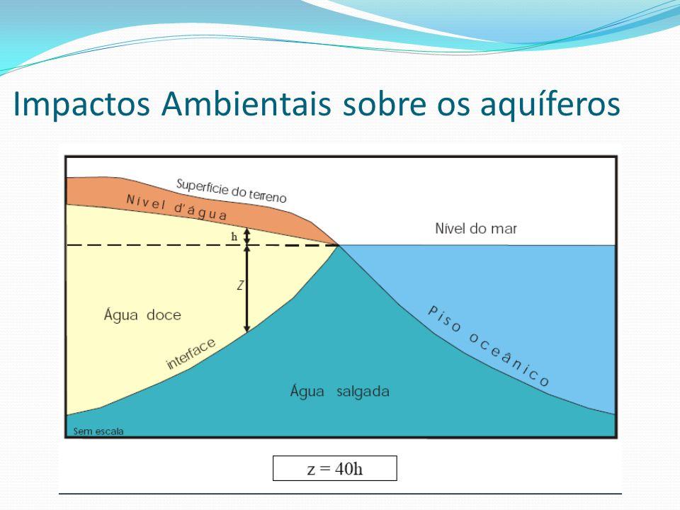 No encontro subterrâneo da água doce com a água salgada forma-se uma interface denominada cunha salina.