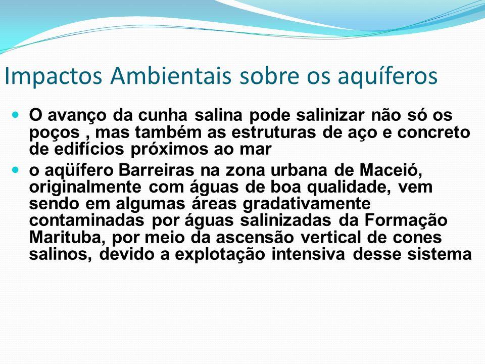 O avanço da cunha salina pode salinizar não só os poços, mas também as estruturas de aço e concreto de edifícios próximos ao mar o aqüífero Barreiras