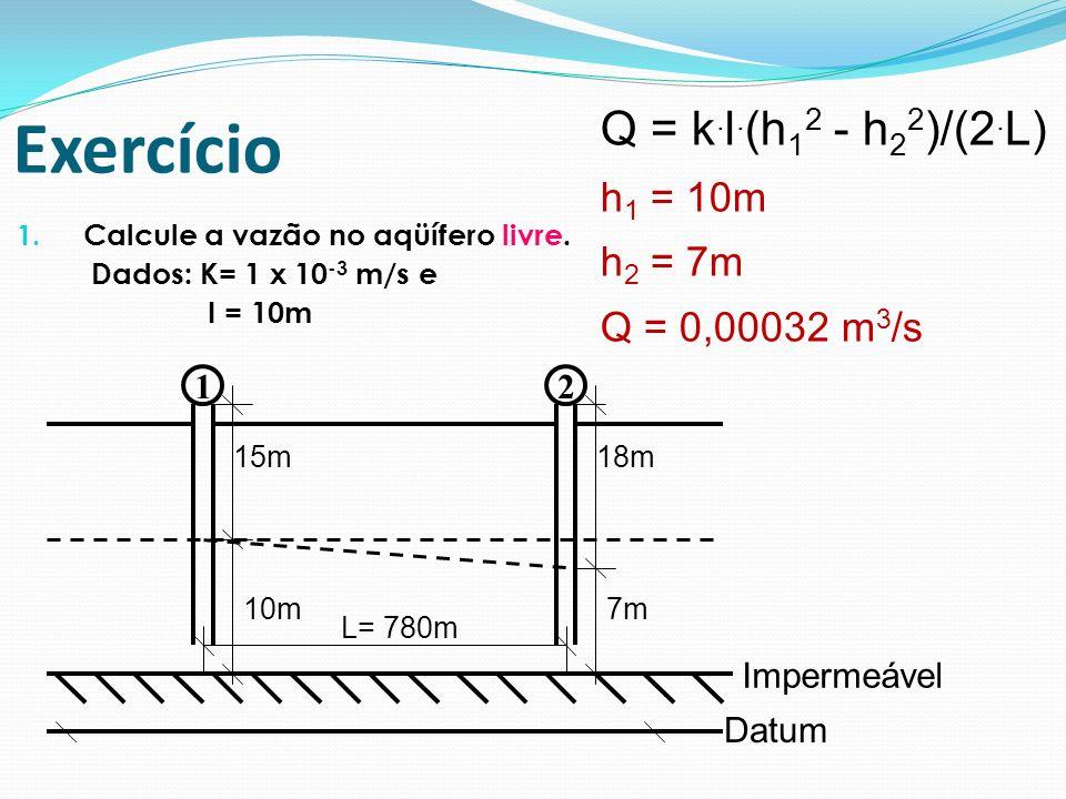 1. Calcule a vazão no aqüífero livre. Dados: K= 1 x 10 -3 m/s e I = 10m 12 L= 780m 15m18m Impermeável Datum 10m7m Exercício Q = k. l. (h 1 2 - h 2 2 )