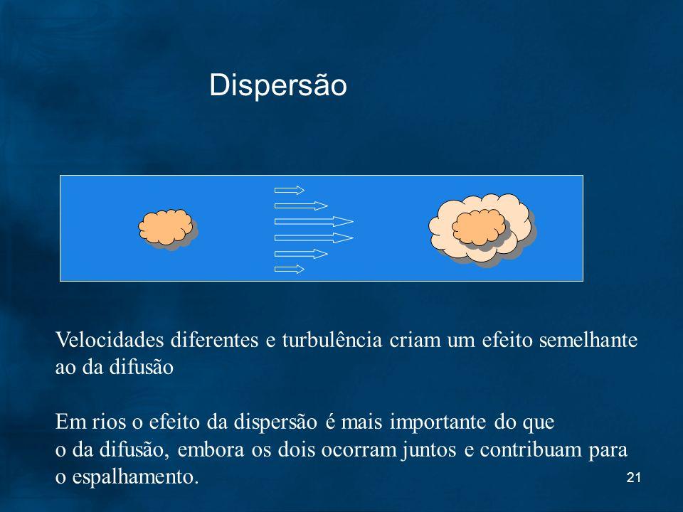 21 Dispersão Velocidades diferentes e turbulência criam um efeito semelhante ao da difusão Em rios o efeito da dispersão é mais importante do que o da