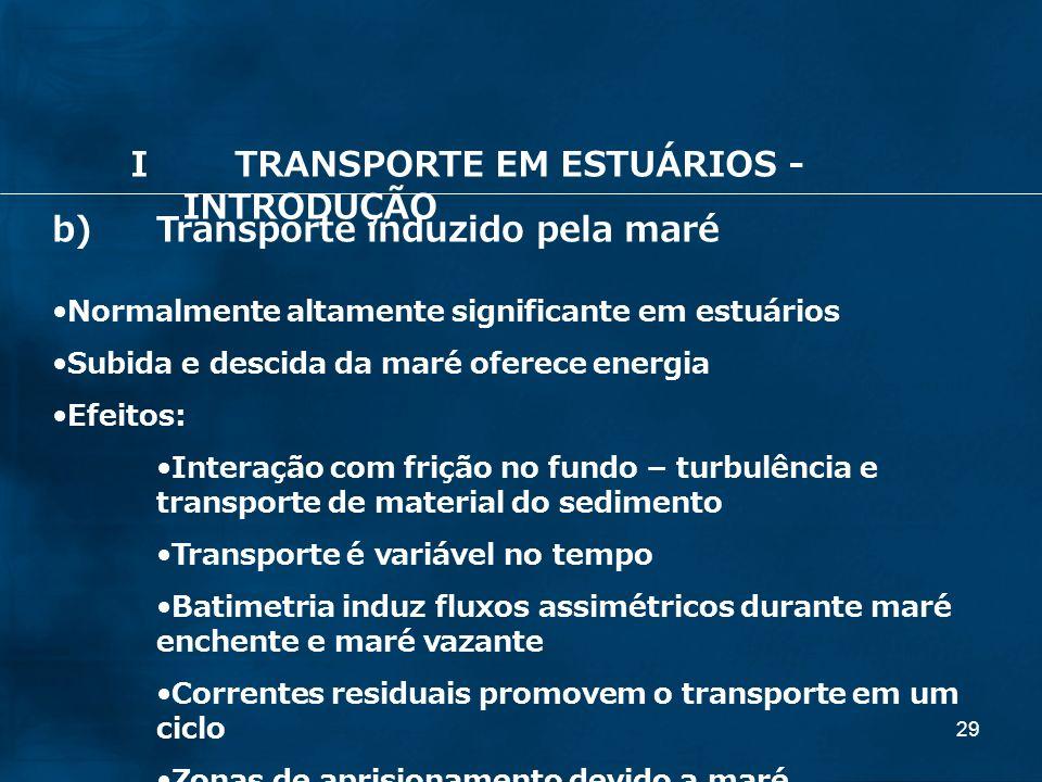 29 b)Transporte induzido pela maré Normalmente altamente significante em estuários Subida e descida da maré oferece energia Efeitos: Interação com fri
