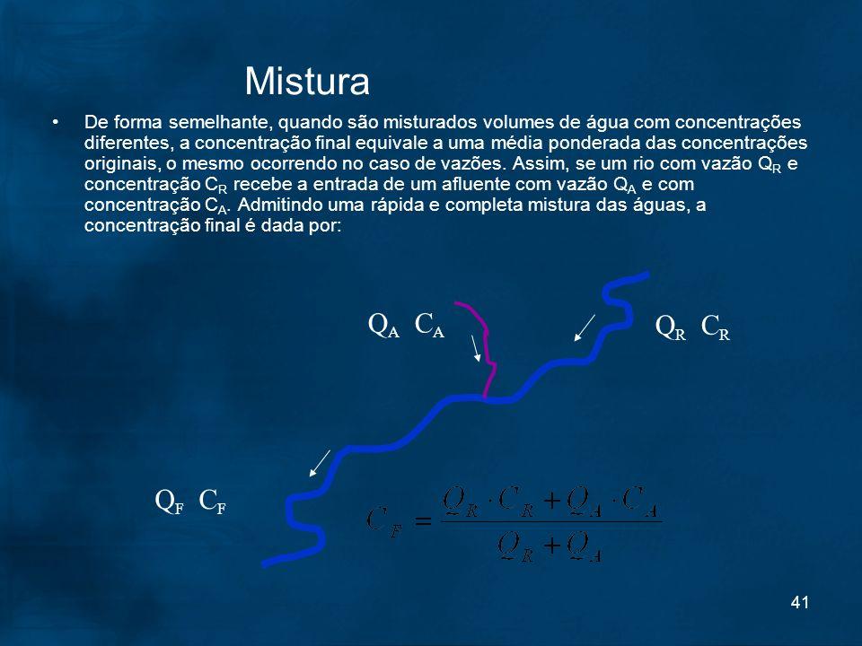 41 Mistura De forma semelhante, quando são misturados volumes de água com concentrações diferentes, a concentração final equivale a uma média ponderad