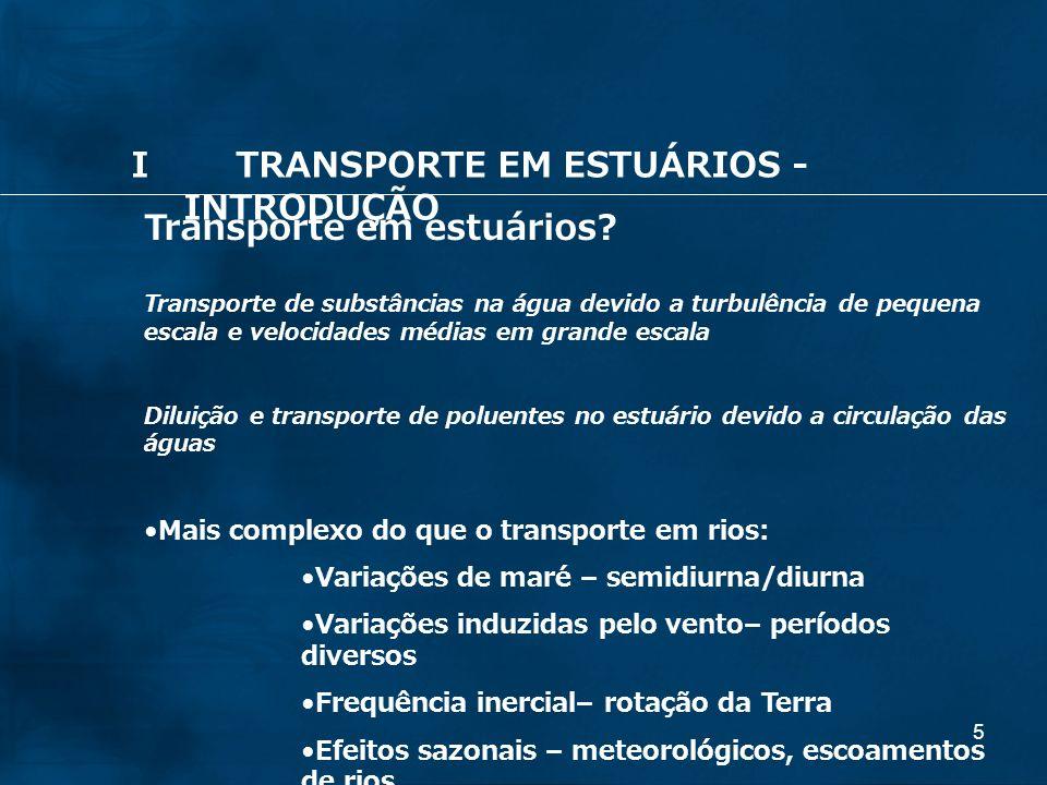26 Principais forçantes do transporte em estuários: a) Ventos b) Maré c) Rios afluentes ITRANSPORTE EM ESTUÁRIOS - INTRODUÇÃO