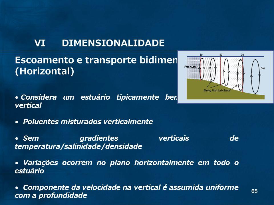 65 Escoamento e transporte bidimensional: (Horizontal) Considera um estuário tipicamente bem misturado na vertical Poluentes misturados verticalmente