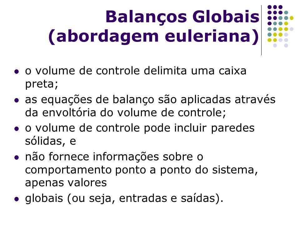Balanços Globais (abordagem euleriana) o volume de controle delimita uma caixa preta; as equações de balanço são aplicadas através da envoltória do vo