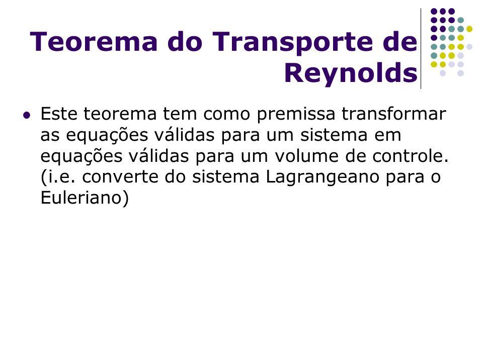 Teorema do Transporte de Reynolds Este teorema tem como premissa transformar as equações válidas para um sistema em equações válidas para um volume de
