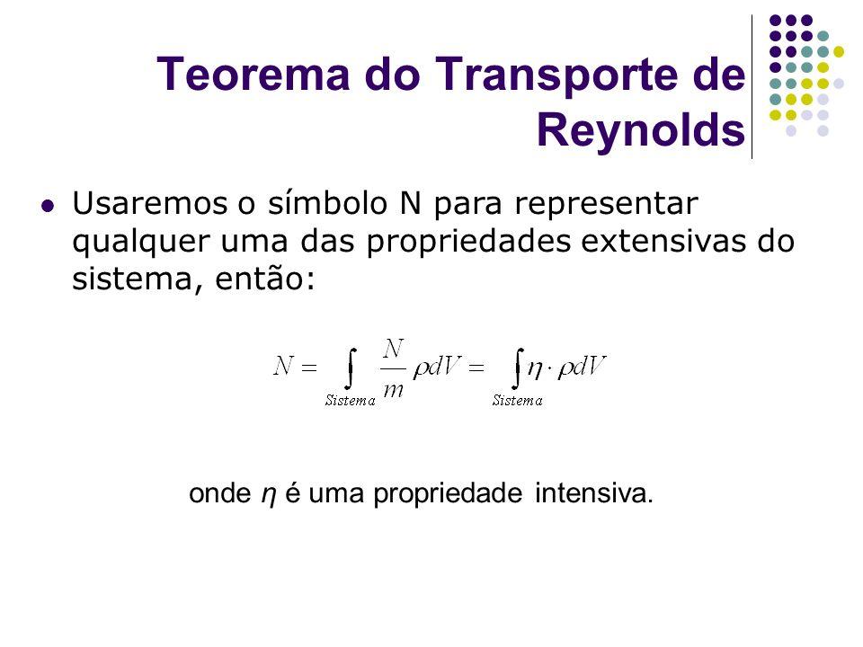onde η é uma propriedade intensiva. Teorema do Transporte de Reynolds Usaremos o símbolo N para representar qualquer uma das propriedades extensivas d