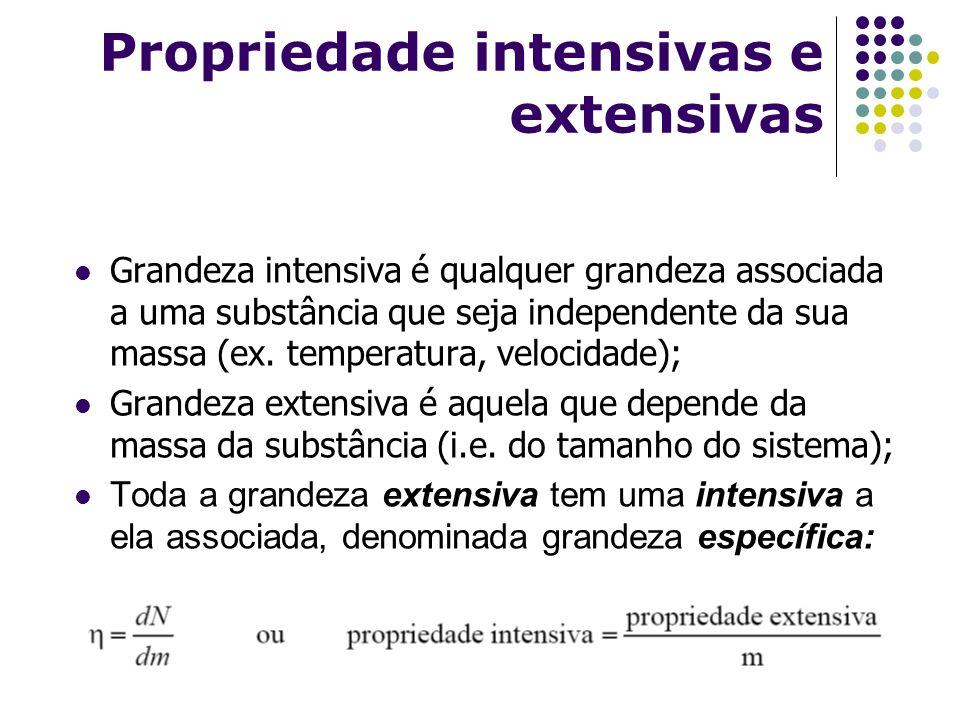 Propriedade intensivas e extensivas Grandeza intensiva é qualquer grandeza associada a uma substância que seja independente da sua massa (ex. temperat