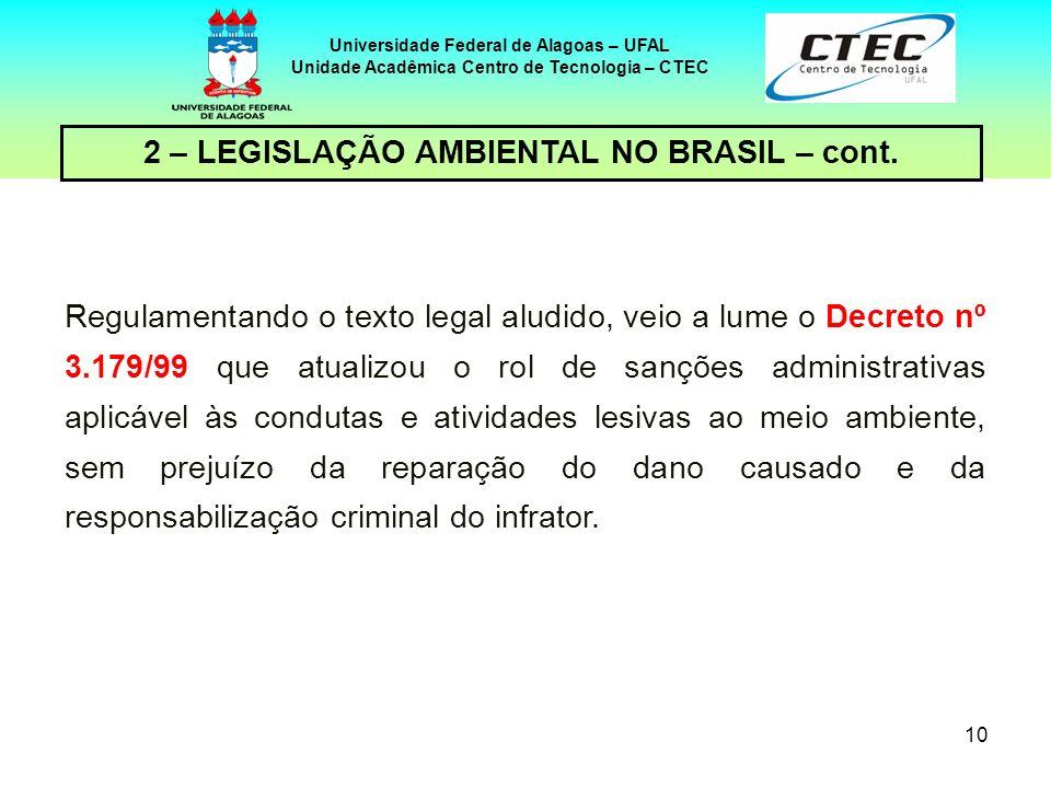 9 Universidade Federal de Alagoas – UFAL Unidade Acadêmica Centro de Tecnologia – CTEC 2 – LEGISLAÇÃO AMBIENTAL NO BRASIL – cont. O texto constitucion