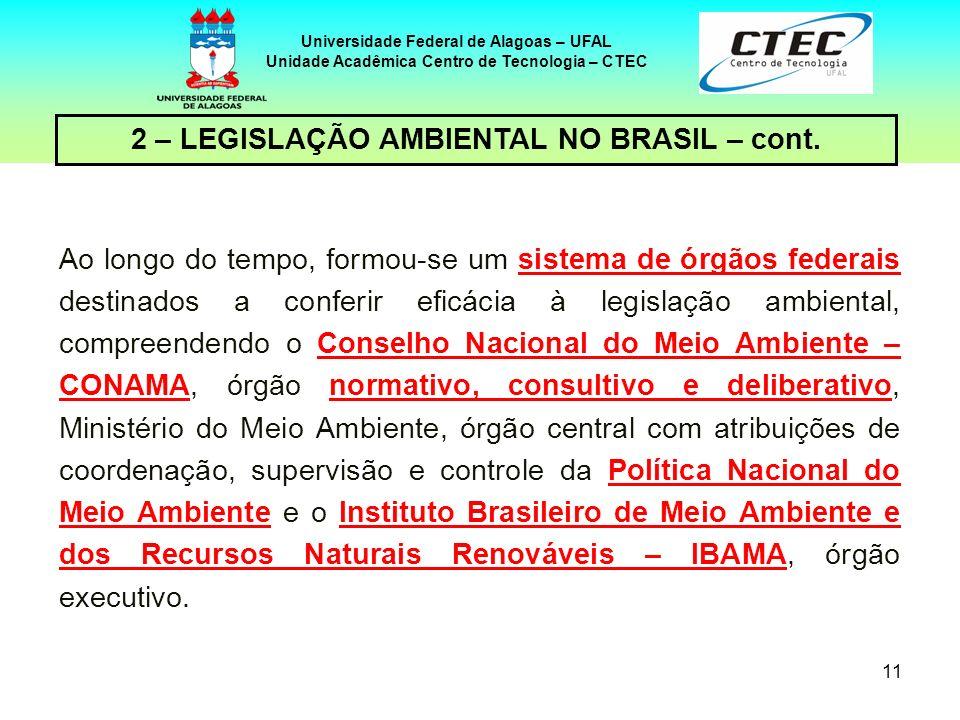 10 Universidade Federal de Alagoas – UFAL Unidade Acadêmica Centro de Tecnologia – CTEC 2 – LEGISLAÇÃO AMBIENTAL NO BRASIL – cont. Regulamentando o te
