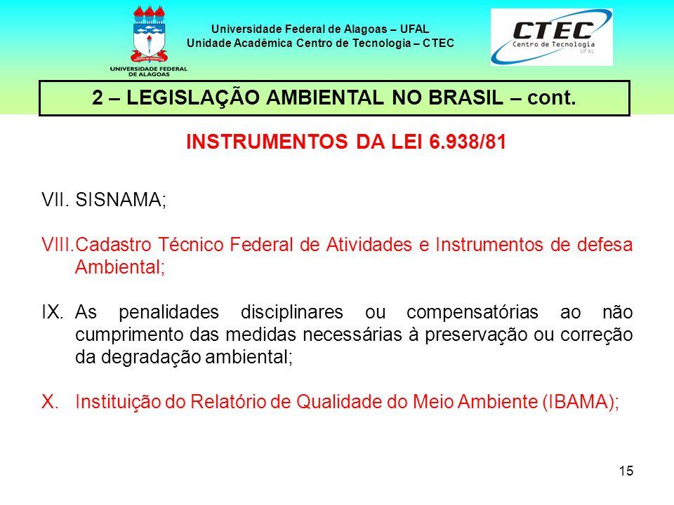 14 Universidade Federal de Alagoas – UFAL Unidade Acadêmica Centro de Tecnologia – CTEC 2 – LEGISLAÇÃO AMBIENTAL NO BRASIL – cont. INSTRUMENTOS DA LEI