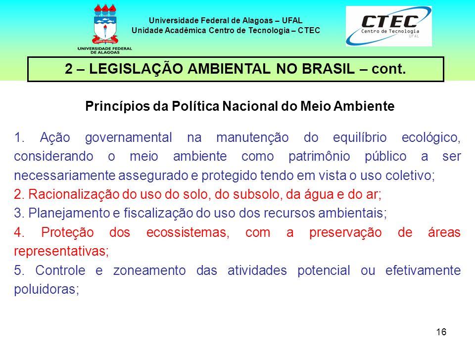 15 Universidade Federal de Alagoas – UFAL Unidade Acadêmica Centro de Tecnologia – CTEC 2 – LEGISLAÇÃO AMBIENTAL NO BRASIL – cont. INSTRUMENTOS DA LEI