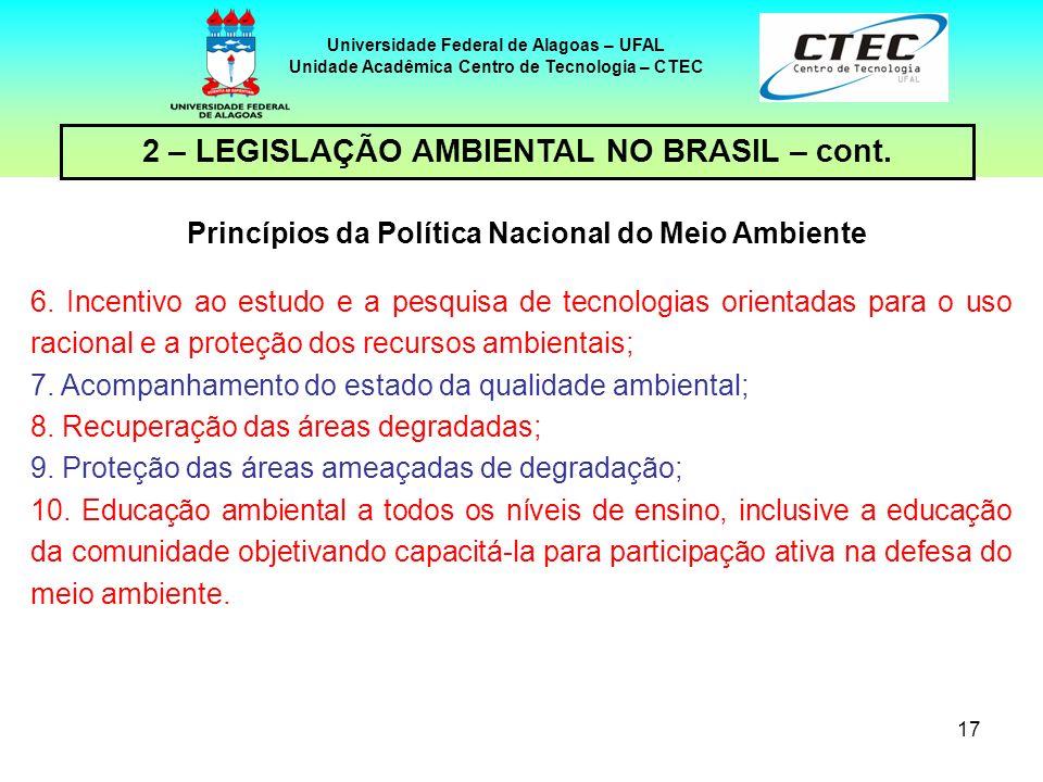 16 Universidade Federal de Alagoas – UFAL Unidade Acadêmica Centro de Tecnologia – CTEC 2 – LEGISLAÇÃO AMBIENTAL NO BRASIL – cont. Princípios da Polít