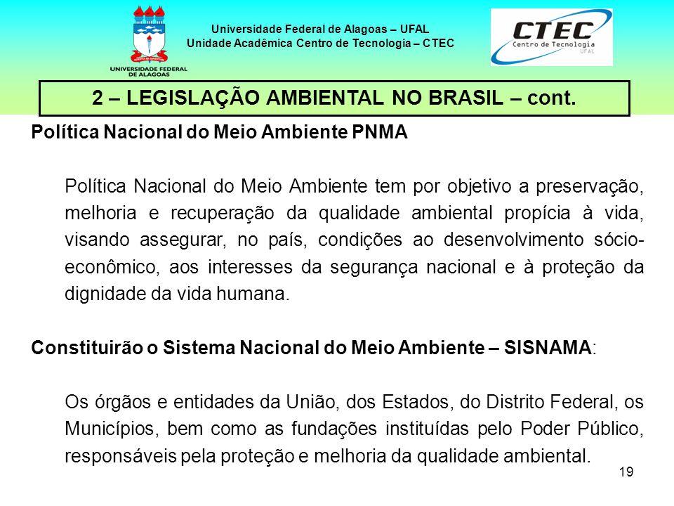 18 Universidade Federal de Alagoas – UFAL Unidade Acadêmica Centro de Tecnologia – CTEC 2 – LEGISLAÇÃO AMBIENTAL NO BRASIL – cont. INSTRUMENTOS DA LEI