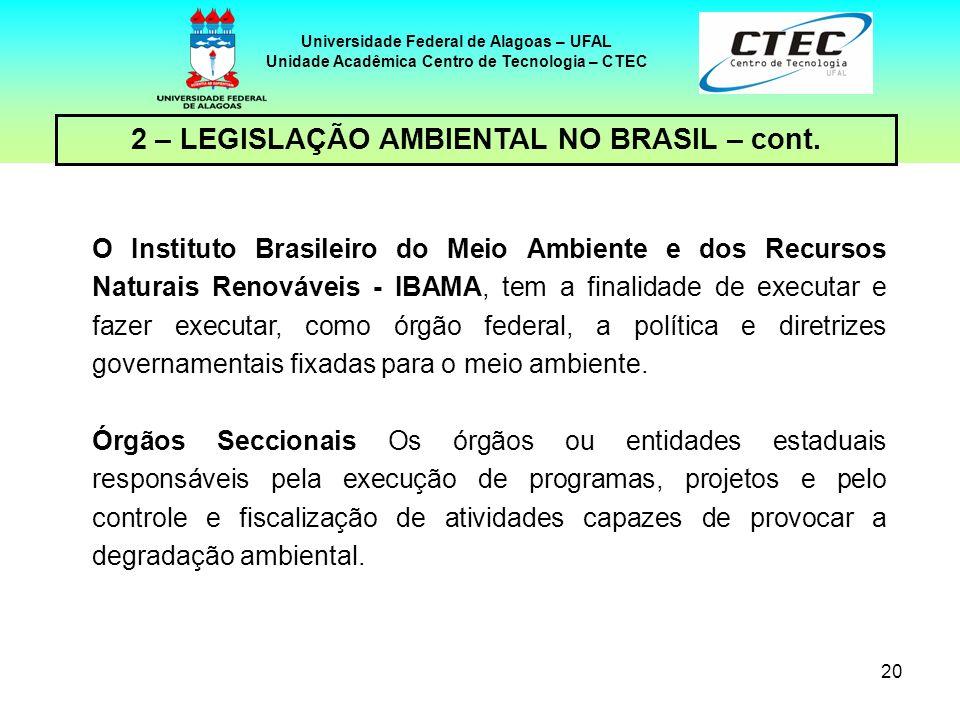 19 Universidade Federal de Alagoas – UFAL Unidade Acadêmica Centro de Tecnologia – CTEC 2 – LEGISLAÇÃO AMBIENTAL NO BRASIL – cont. Política Nacional d