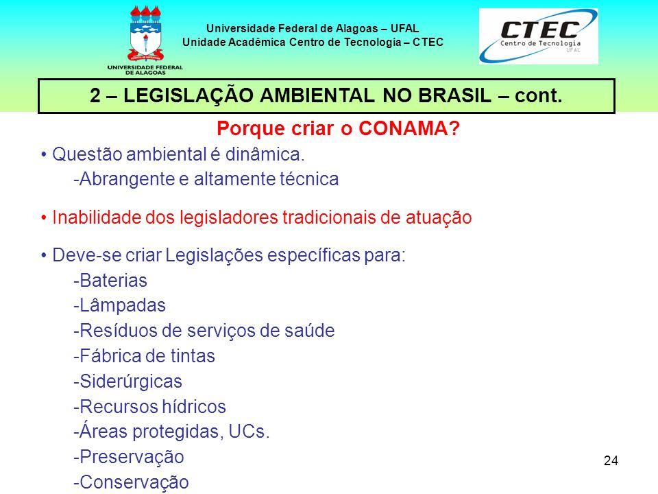 23 Universidade Federal de Alagoas – UFAL Unidade Acadêmica Centro de Tecnologia – CTEC 2 – LEGISLAÇÃO AMBIENTAL NO BRASIL – cont. CONAMA Conselho Nac