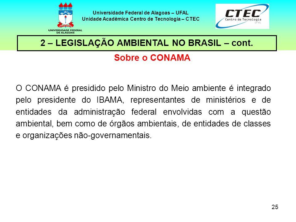 24 Universidade Federal de Alagoas – UFAL Unidade Acadêmica Centro de Tecnologia – CTEC 2 – LEGISLAÇÃO AMBIENTAL NO BRASIL – cont. Questão ambiental é
