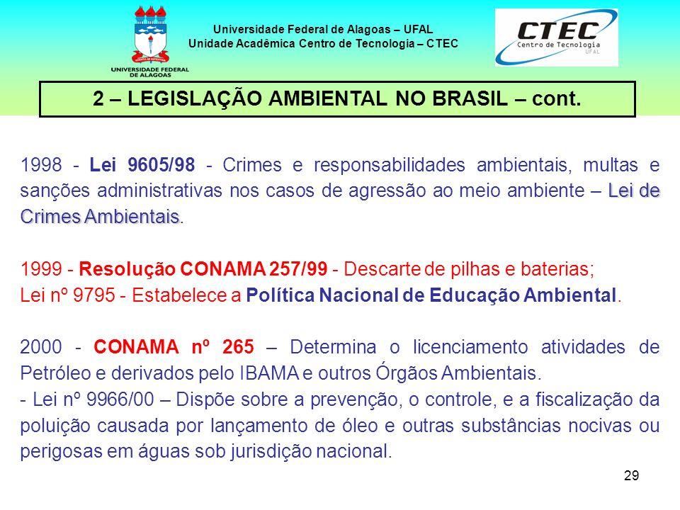 28 Universidade Federal de Alagoas – UFAL Unidade Acadêmica Centro de Tecnologia – CTEC 2 – LEGISLAÇÃO AMBIENTAL NO BRASIL – cont. 1993 - Resolução CO