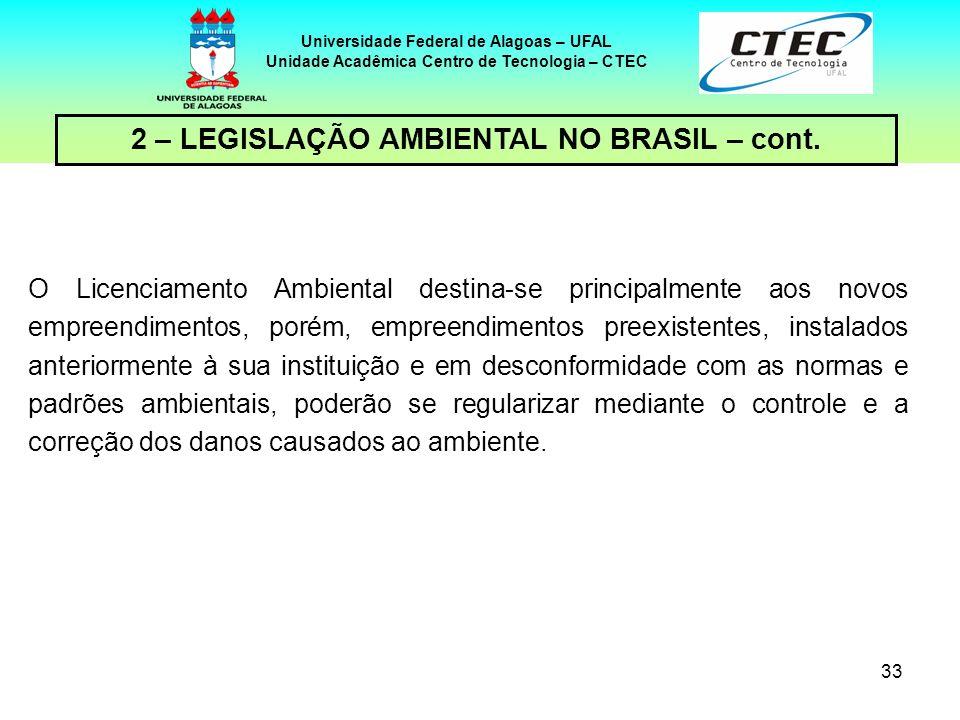 32 Universidade Federal de Alagoas – UFAL Unidade Acadêmica Centro de Tecnologia – CTEC 2 – LEGISLAÇÃO AMBIENTAL NO BRASIL – cont. Para obtenção da Li
