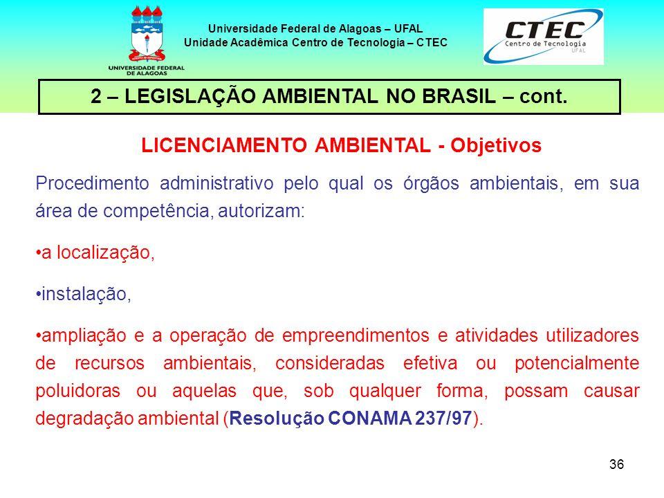 35 Universidade Federal de Alagoas – UFAL Unidade Acadêmica Centro de Tecnologia – CTEC 2 – LEGISLAÇÃO AMBIENTAL NO BRASIL – cont. Disciplinar, previa