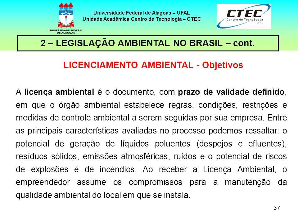 36 Universidade Federal de Alagoas – UFAL Unidade Acadêmica Centro de Tecnologia – CTEC 2 – LEGISLAÇÃO AMBIENTAL NO BRASIL – cont. LICENCIAMENTO AMBIE