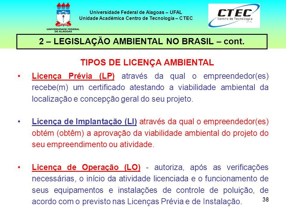 37 Universidade Federal de Alagoas – UFAL Unidade Acadêmica Centro de Tecnologia – CTEC 2 – LEGISLAÇÃO AMBIENTAL NO BRASIL – cont. LICENCIAMENTO AMBIE