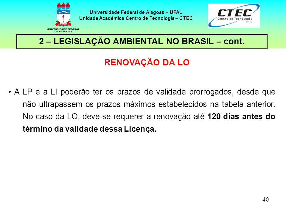 39 Universidade Federal de Alagoas – UFAL Unidade Acadêmica Centro de Tecnologia – CTEC 2 – LEGISLAÇÃO AMBIENTAL NO BRASIL – cont. O prazo de validade