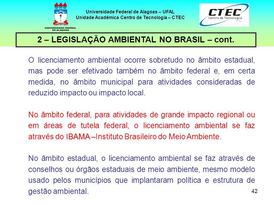 41 Universidade Federal de Alagoas – UFAL Unidade Acadêmica Centro de Tecnologia – CTEC 2 – LEGISLAÇÃO AMBIENTAL NO BRASIL – cont. A licença pode ser