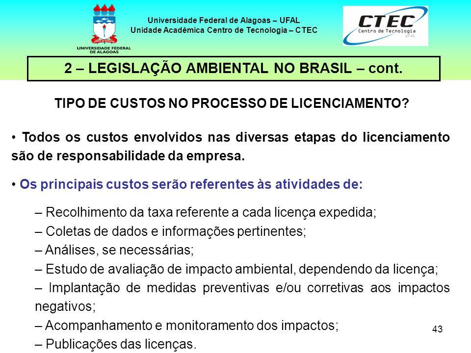 42 Universidade Federal de Alagoas – UFAL Unidade Acadêmica Centro de Tecnologia – CTEC 2 – LEGISLAÇÃO AMBIENTAL NO BRASIL – cont. O licenciamento amb