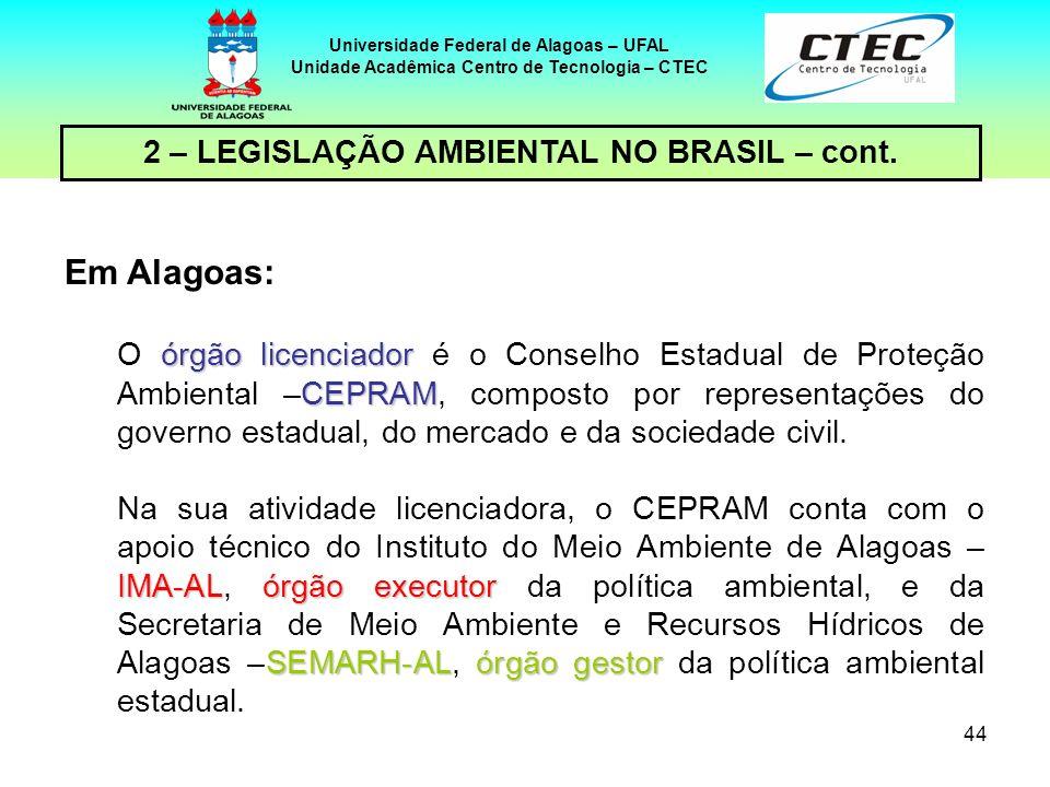 43 Universidade Federal de Alagoas – UFAL Unidade Acadêmica Centro de Tecnologia – CTEC 2 – LEGISLAÇÃO AMBIENTAL NO BRASIL – cont. TIPO DE CUSTOS NO P