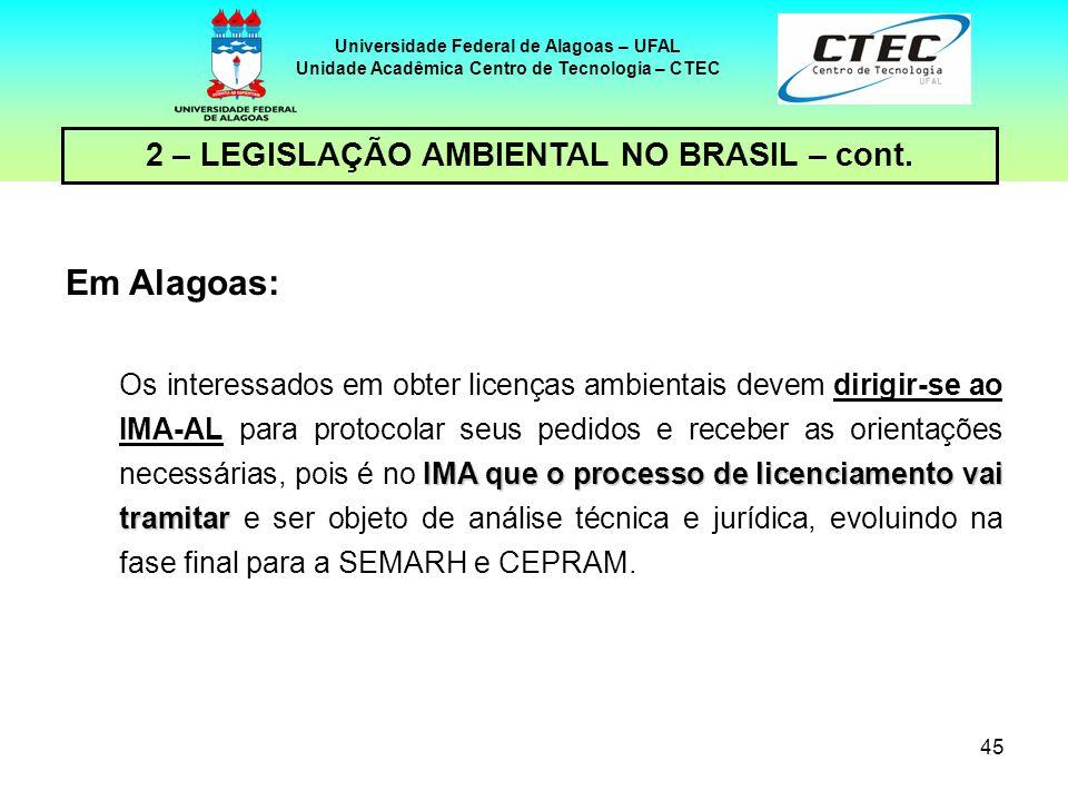 44 Universidade Federal de Alagoas – UFAL Unidade Acadêmica Centro de Tecnologia – CTEC 2 – LEGISLAÇÃO AMBIENTAL NO BRASIL – cont. Em Alagoas: órgão l